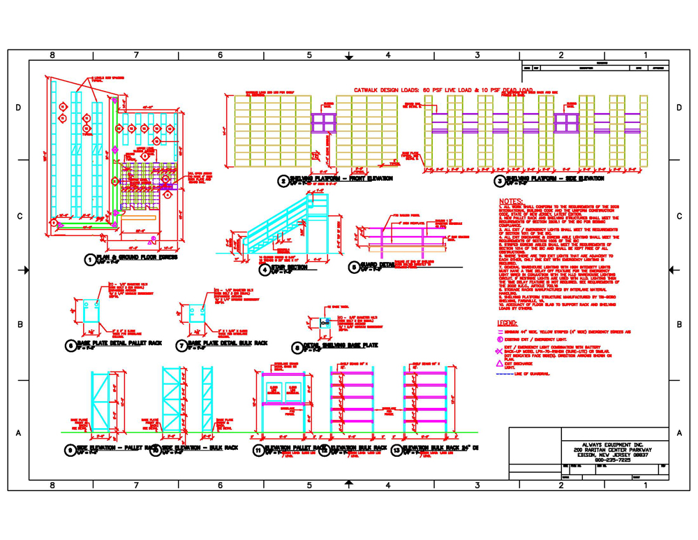 Layout design always equipment inc for Warehouse plans designs