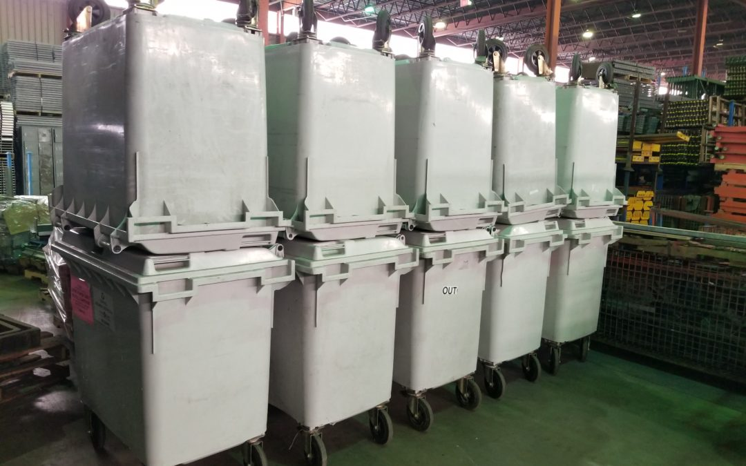 Large Plastic Rolling Bins- 150 Gallon